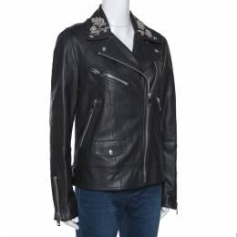 Burberry Black Floral Embroidered Leather Peebles Jacket M 277853