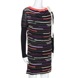 M Missoni Black Embossed Stripe Lurex Wool Knit Mini Dress S 277685