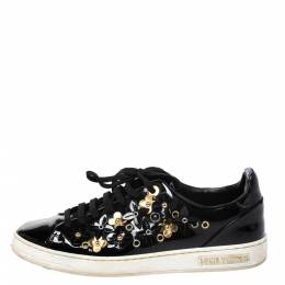 Louis Vuitton Black Patent Leather Frontrow Blossom Floral Embellished Low Top Sneakers Size 37 277683