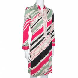 Diane Von Furstenberg Multicolor Printed Silk Jersey Polo Dress M 277596