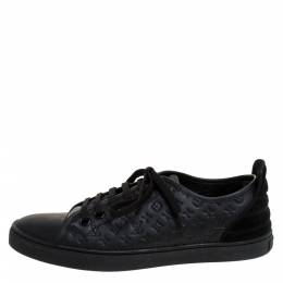 Louis Vuitton Black Monogram Empreinte Leather and Suede Low Top Sneakers Size 37 287076