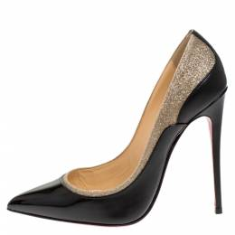 Christian Louboutin Black/Beige Glitter and Patent Leather Tucsick Pumps Size 37 277725