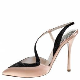 Rene Caovilla Blush Pink/Black Satin Pointed Toe Slingback Pumps Size 38 278623