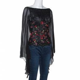 Elie Saab Black Embellished Lace Sheer Sleeve Blouse S 278621