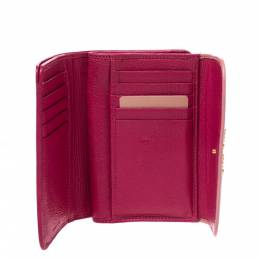 Miu Miu Two Tone Pink Leather Madras Compact Wallet 278506