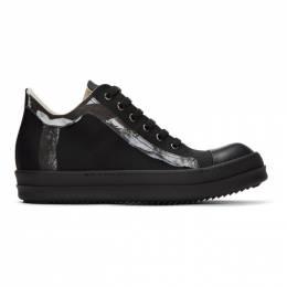 Rick Owens DRKSHDW Black Graphic Trim Low Sneakers DU20S5802 MUEH1