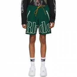 Rhude Green Oversized Logo Shorts RHU06PS20039