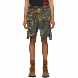Rhude Brown and Green Camouflage Cargo Shorts 03ASR00401