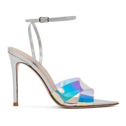 Gianvito Rossi Silver Hologram Stark Heeled Sandals G31205.15RIC.PLLHOSI