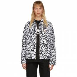 Noon Goons Black and White Denim Leopard Jacket NGSS20032