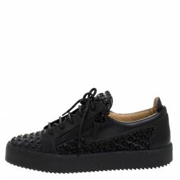 Giuseppe Zanotti Design Black Studded Rubber And Leather May London Slip On Sneakers Size 41.5 279046