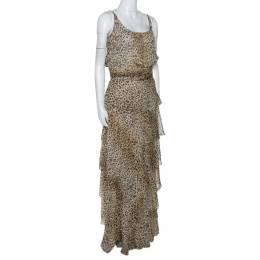 Valentino Boutique Vintage Beige Animal Print Tiered Maxi Dress L 278610