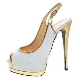 Giuseppe Zanotti Design White Croc Embossed Leather Peep Toe Slingback Platform Sandals Size 37 278539