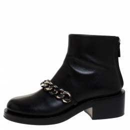 Givenchy Black Leather Chain Link Laura Ankle Boots Size 38 278828