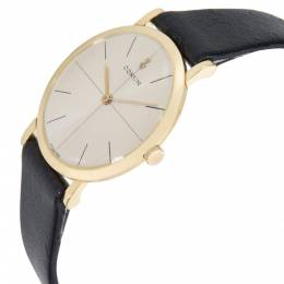 Corum Silver 18K Yellow Gold and Leather Dress Women's Wristwatch 31MM 278895