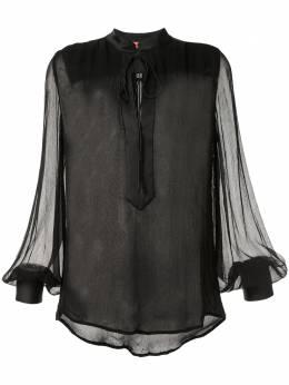 Manning Cartell полупрозрачная блузка с завязками на воротнике 20W11516BLK