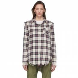 R13 Off-White Plaid Shredded Seam Shirt R13W7546-911