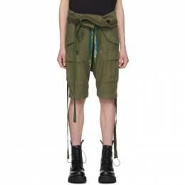 R13 Khaki Rolled Waist Cargo Shorts R13W7626-BS7