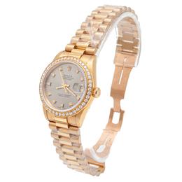 Rolex Grey Dial Datejust Yellow Gold Diamond Dial & Bezel Women'S Watch 31MM