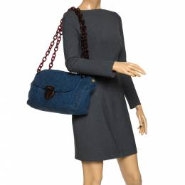 Prada Blue/Brown Denim Flap Chain Shoulder Bag 279233