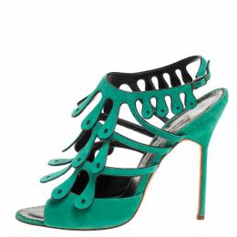 Manolo Blahnik Green Suede Strappy Ankle Strap Sandals Size 41 279284