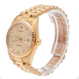 Rolex Champagne Datejust 178278 Diamond Dial Yellow Gold Women'S Watch 31MM