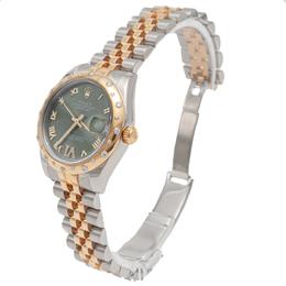 Rolex Green Datejust Steel & Yellow Gold Diamond Dial & Bezel Women'S Watch 31MM