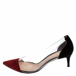 Gianvito Rossi Red/Black Patent Leather and PVC Plexi Pointed Toe Pumps Size 41 279209
