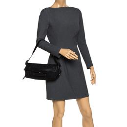 Givenchy Black Monogram Canvas and Leather Shoulder Bag