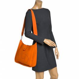 Hermes Orange Clemence Leather Evelyne III GM Bag 279300