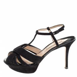 Nicholas Kirkwood Black Suede T Strap Platform Sandals Size 37.5 279273