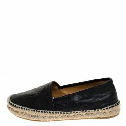 Gucci Black Guccissima Leather Pilar Espadrille Flats Size 39.5