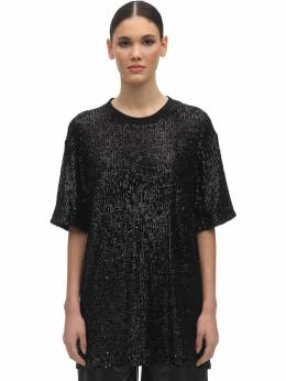 Over Sequins Round Neck T-shirt In The Mood For Love 71IXU0010-QkxBQ0s1