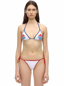 Pepsi Print Triangle Bikini Top Dsquared2 71IXSD001-MTEx0