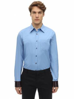 Cotton Shirt W/ Leather Cuffs Salvatore Ferragamo 71IX0A002-NzI4MDg40