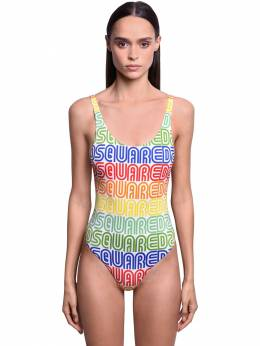 Rainbow Logo One Piece Swimsuit Dsquared2 71IWI2003-MTI40