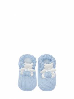 Cotton Knit Socks W/ Bear Appliqués La Perla 71IOF8008-QTA10