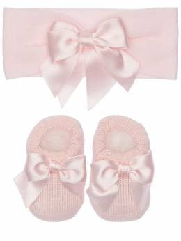 Knit Headband & Socks W/ Satin Bows La Perla 71IOF8004-WUM50