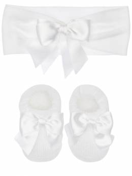 Knit Headband & Socks W/ Satin Bows La Perla 71IOF8004-WUM40