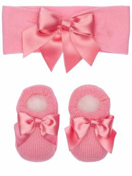 Knit Headband & Socks W/ Satin Bows La Perla 71IOF8004-WUM20