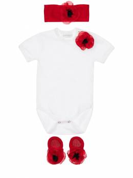 Interlock Bodysuit, Headband & Socks La Perla 71IOF8002-WVo00