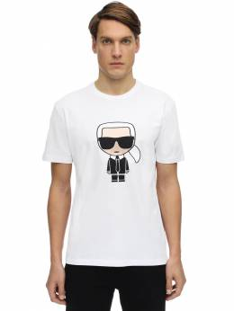 K.l. Embroidered Cotton Jersey T-shirt Karl Lagerfeld 71IM86003-MTA1