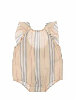 Striped Cotton Muslin Bodysuit Burberry 71ILXI017-QTgwNzM1