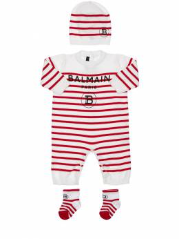 Stripes Knit Cotton Romper, Hat & Socks Balmain 71ILX4044-MTAwUk81