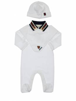 Cotton Piquet Romper, Hat & Bib Gucci 71ILAR001-OTA2MQ2