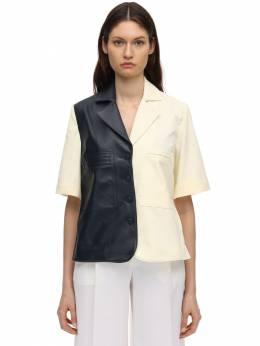 Рубашка Из Хлопковой Парусины И Кожи Rokh 71IDKY002-MDJNSUxL0