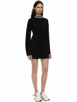 Короткое Платье Из Вискозного Трикотажа Off-White 71I3KW092-MTAwMA2