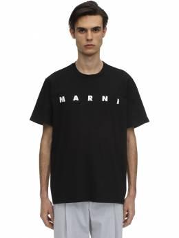 Футболка Из Хлопкового Джерси С Принтом Логотипа Marni 71I3HA011-MDBOOTk1
