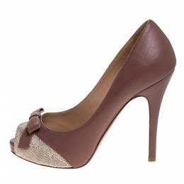Valentino Dark Beige Leather And Studded Suede Bow Peep Toe Platform Pumps Size 36.5 279457