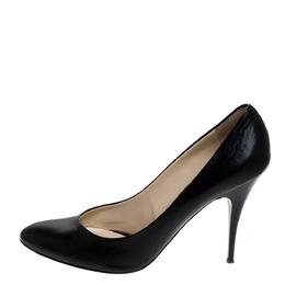 Giuseppe Zanotti Design Black Leather Round Toe Pumps Size 41 279433
